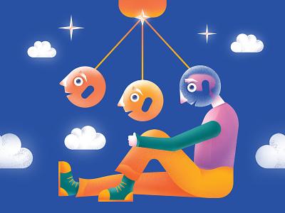 Pendulum 💭 character design waiting thoughts pendulum colorful gradient grain digitalart vector illustration