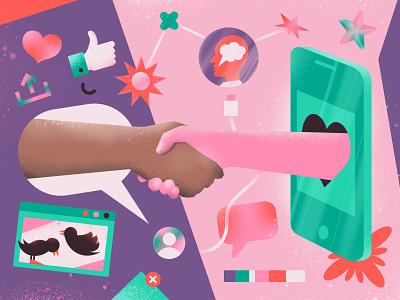 How social media can build trust and productivity in hybrid team productivity hybrid teams social media handshake article illustration blog magazine editorial illustration editorial illustration
