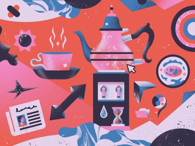 (In)FUSION ☕️ beverage texture textures procreate graphic design magazine illustration water teacup teapot coffee newspapers gradient grain digitalart digital magazine editorial illustration editorial tea illustration
