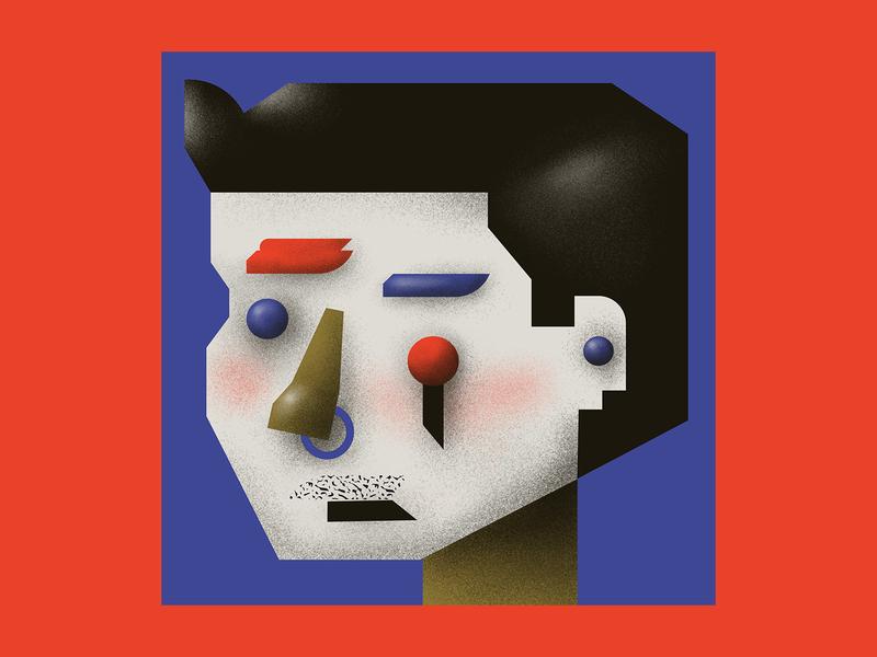 Reassemblage #3 portrait personal face digital grain digitalart design gradient colorful vector illustration