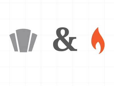 Pith & Torch icons torch flame keystone ampersand pandt symbol