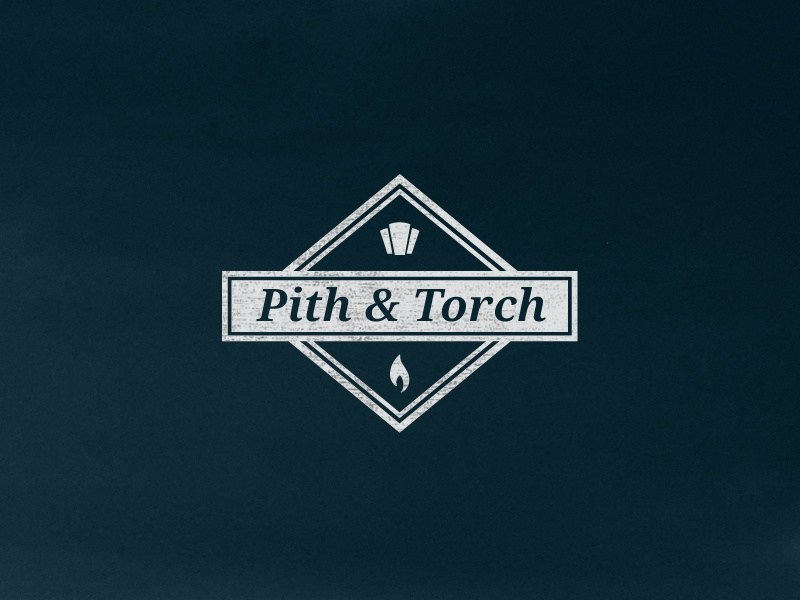 Pith & Torch work in progress pandt symbol keystone flame torch icons ampersand logo badge