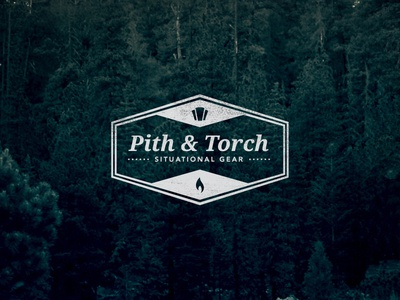 Pith & Torch logo variation logo pandt symbol keystone flame torch icons ampersand badge