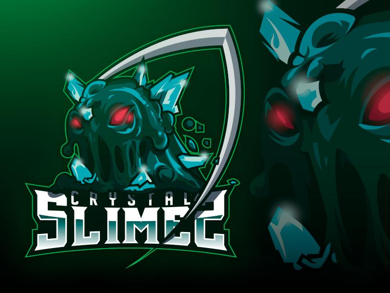 Crystal Slimes logo esport branding gaminglogo design character gaming logo esports logo e-sports esports e-sport esport brand badge angry vector mascot logo mascot design logodesign logo illustration