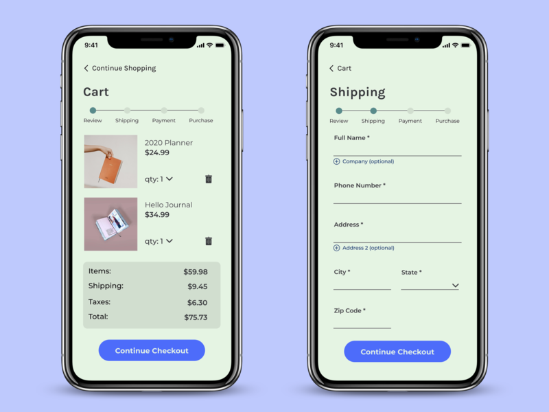 Daily UI #002 Cart & Shipping Screens Before Checkout