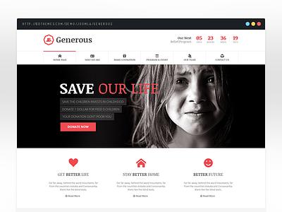 Generous - Charity Joomla Template bdthemes fresh non profit clean warp framework joomla template