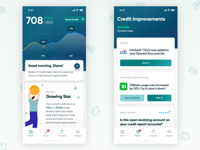 Credit Repair gamified uidesign fintech app accounts finances financial concept design ui ux mobile app finance app credit card banking fintech finance credit