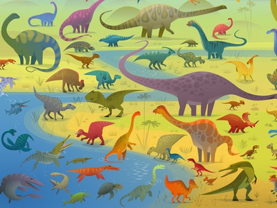 "detail of the final spread in ""101 Dinosaurs"""