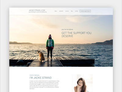 Jackie Strand Therapy Website landing page single page elementor wordpress design website help support family therapy