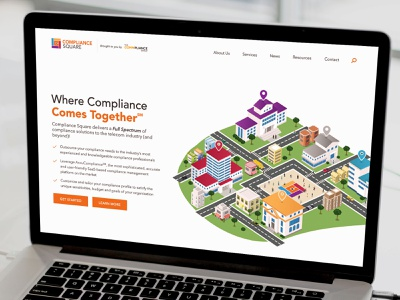 Compliance Square Website legal office telecommunication telecom compliance lawyer legal simple clean bright website design geometric colorful modern website