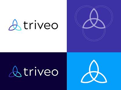 Triveo Logo Design branding geometric triquetra tri logo design logo