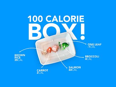 Introducing the 100 Calorie Box! april1 prank box broccoli leaf salmon carrot rice lines food ux ui