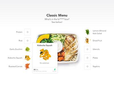 Farm Hill - à la carte tooltips build create custom customize ux ui food fresh healthy farm a la carte
