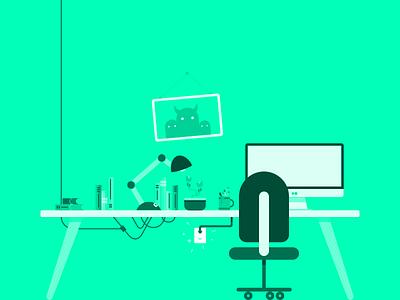 Work. Work. Work. outlet mug desk lamp computer chair desk green hues illustration flat work workspace