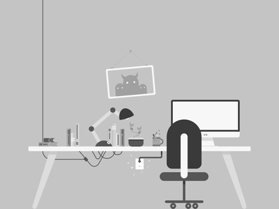 Gray Scale Illustration Exploration electric books lamp picture chair workspace desk illustration grayscale process
