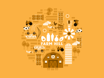 Illustration Patterns buildings tractor colorful windmill mill farm barn pattern icons greyscale grayscale illustrations