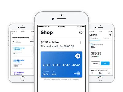 Affirm App v3 anywhere simple credit card cards manage shop clean design app