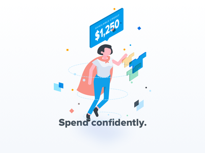 Spend confidently. super hero hero isometric shopping spend particles credit finance onboarding