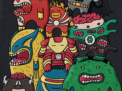 Monsters super heroes poster a3