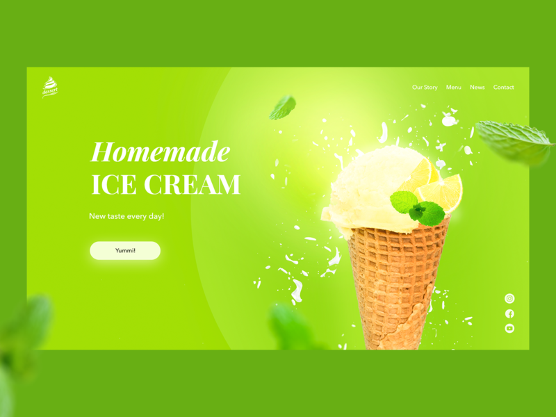 Homemade Ice Cream summer icecream ice food golden canon grid bright promosite promo branding website web design webdesign design web