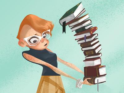 Librarian freckles glasses mod mohawk library librarian books girl illustration
