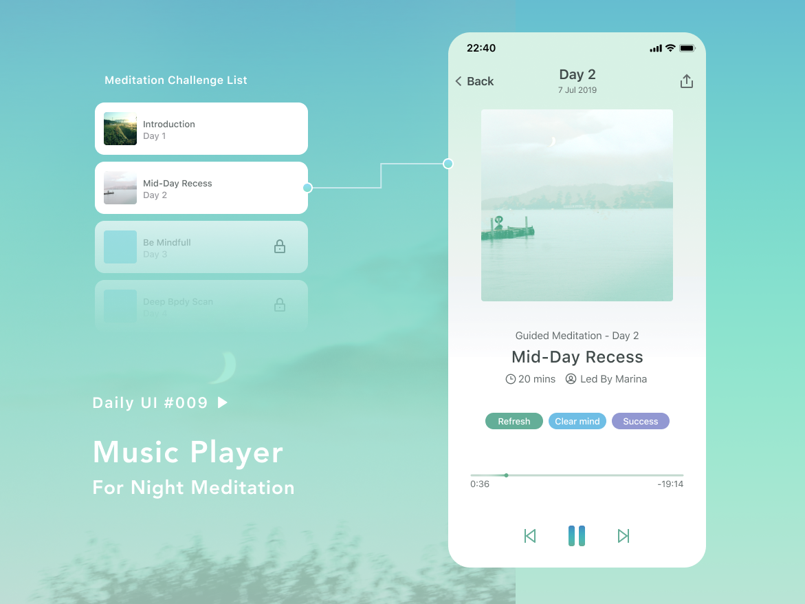 Daily UI #009 - Music Player for Night Meditation health meditation app music player 009 daily ui