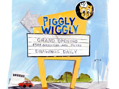 Pigglywiggly logo papercut papercraft paper art illustrator illustrations illustration art design cutpaper collage maker cutout collageart collage drawing southern art painting illustration gouache