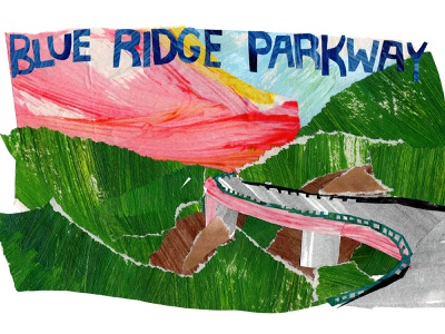 Blue Ridge Parkway logo papercut papercraft paper art illustrator illustrations illustration art design cutpaper collage maker cutout collageart collage drawing southern art painting illustration gouache