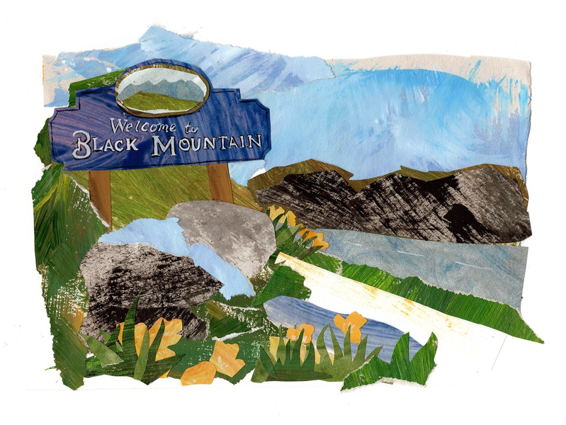 Welcome to Black Mountain logo papercut papercraft paper art illustrator illustrations illustration art design cutpaper collage maker cutout collageart collage drawing southern art painting illustration gouache