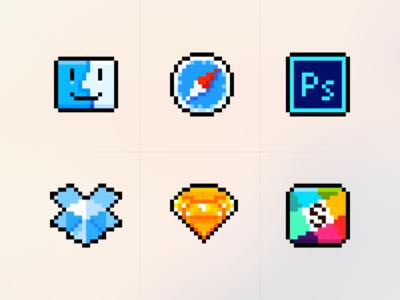 Pixel Icons replacement slack sketch dropbox ps safari finder pixelart osx macos icons icon