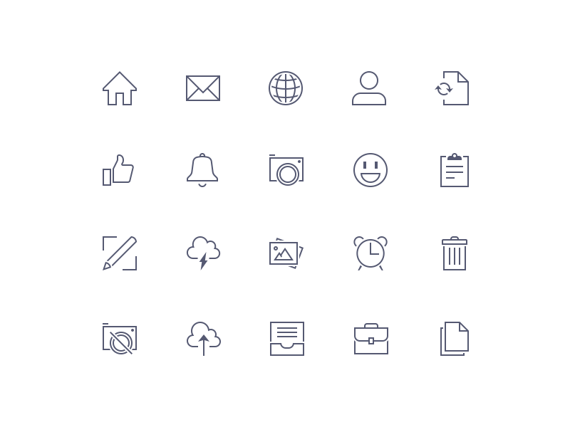 Sharp Icons Preview icon trash inbox emoji camera notify like me mail home