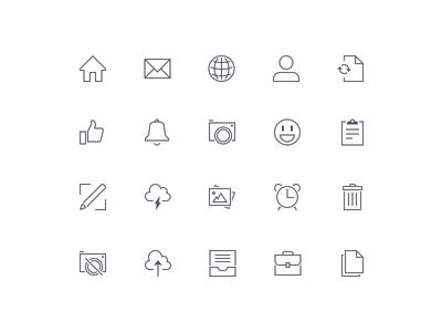 Sharp Icons Preview icon trash inbox emoji camera notify like me mail home
