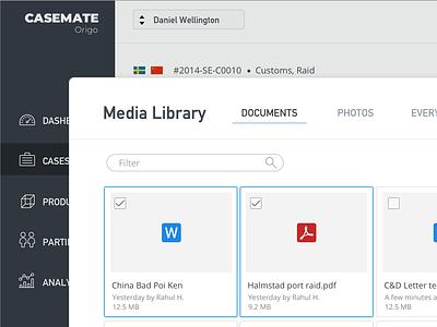 CaseMate Media Library UI ui design visual design minimal din file explorer file manager thumbnails library ui  ux ui