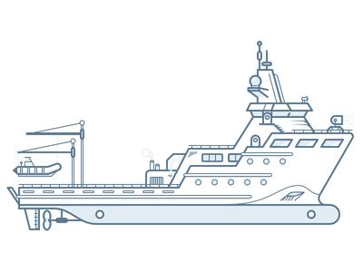 Research Vessel maritime marine vessel ship boat illustration