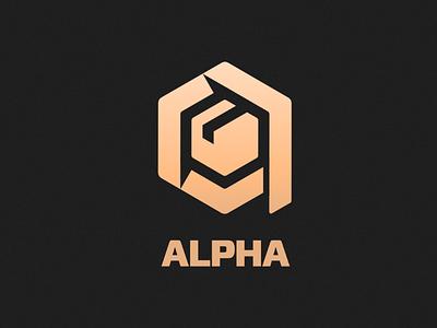 Alpha box transport shipping cargo logo