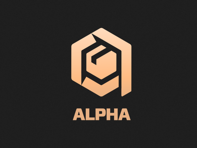 Alpha box transport shipping cargo logo
