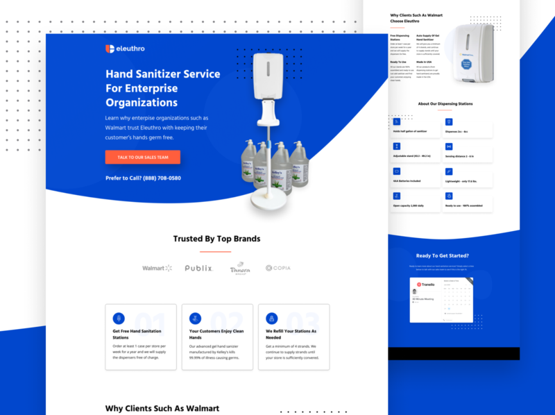 Landing Page for Hand Sanitation Service covid corona ui webdesign landing page