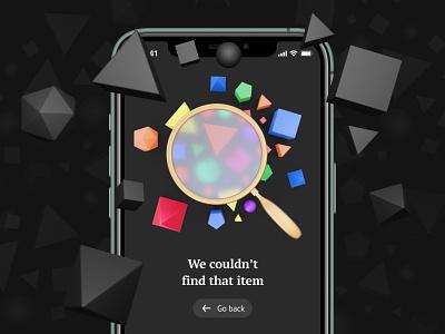 Not Found 3D Illustration 3d icon 3d art figmadesign blender blender3d mobile app design interface daily ui challenge dailyui figma