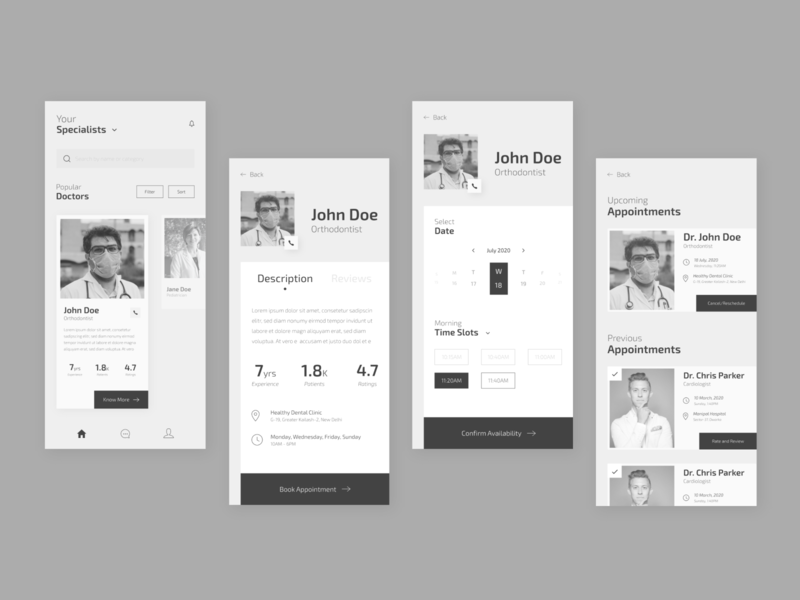 Doctor Appointment Booking app black and white ui dribbble inspiration clean ui modern doctor app adobe xd minimal ui app ui app design mobile app mobile ui app ui  ux ux design ux ui design ui graphic design