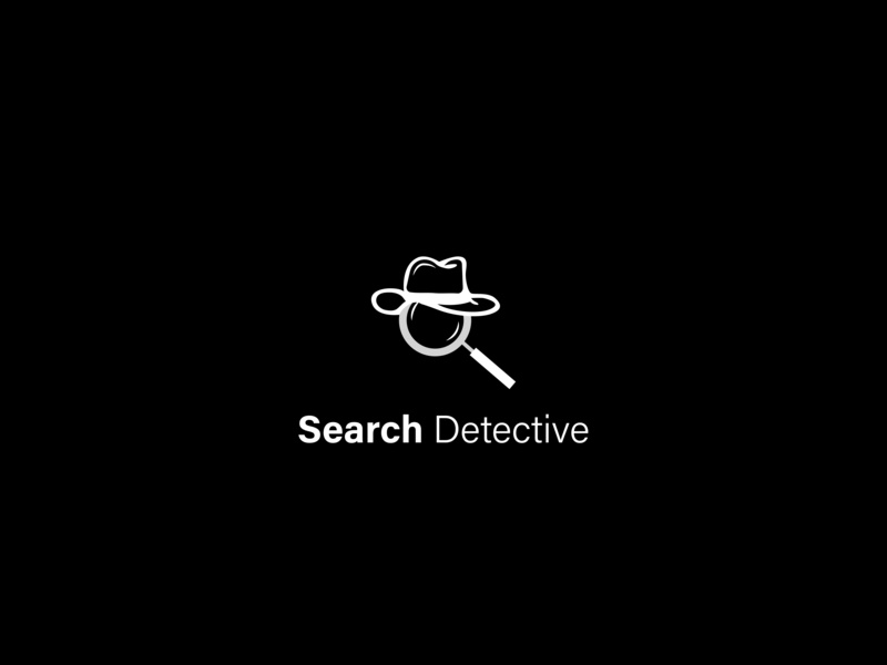 Search Detective hat magnifying glass search detective branding typography symbol negative space vector mark logo illustration icon graphic design art