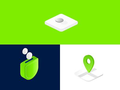 Iconset for ila bank amsterdam branding vector illustration animation design app banking bankingicons device pocket lock location motiongraphics motion design iconset icons animated