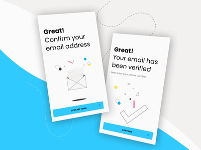 Confirmation Screens 📩☑️🎉 amsterdam checkmark email motion minimal icons app branding 2d vector illustration ui animation