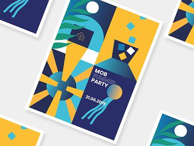 Summer Party Poster party poster branding amsterdam jellyfish ballon sun cocktail illustration summer
