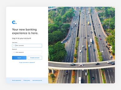 Banking Login logo highway amsterdam platform bank design web video form login page ux ui animation
