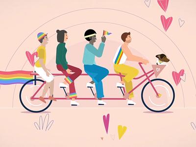 Amsterdam Pride 2019 hearts pride lgbtqia vector design lgbt amsterdam lgbtq rainbow pride month love is love pride 2019 riding loop bicycle animation 2d illustration