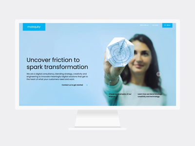 Mobiquity website redesign amsterdam ui ux responsive mobile tablet desktop animation scroll branding design website