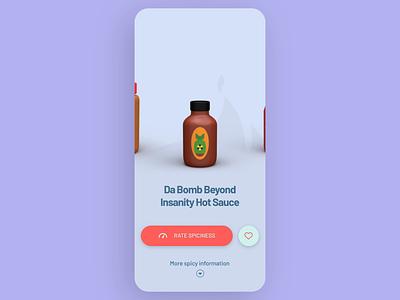 Hot Sauce App 🌶 animation 2d illustration amsterdam scrolling slider microinteraction design motion 3d modeling rating app sauce hot