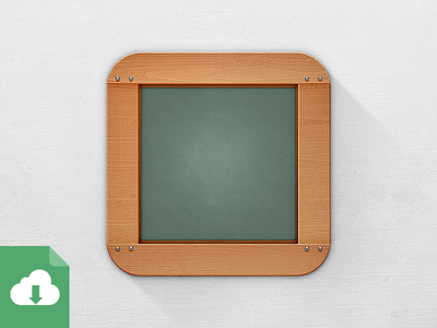 Chalkboard (not) Flat texture chalkboard icon ios iphone app mobile 1024 highres retina wooden psd free freebie download