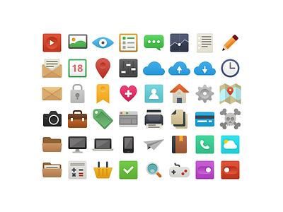 It's Flat - Icon Set freebie free flat icon printer lens home set icons calendar download psd