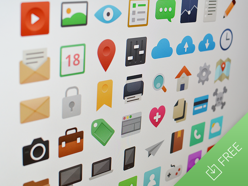 It's Flat - Icon Set freebie free flat icon printer lens home set icons calendar download psd